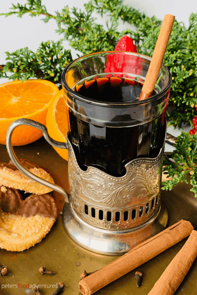 A Swiss-German Hot Mulled Wine that is enjoyed during the holidays, or when it's cold outside. Similar to Glogg, Quentao, Vin Chaud and Glintwein. Perfect for the holidays, It tastes like Christmas in a cup. Gluhwein recipe