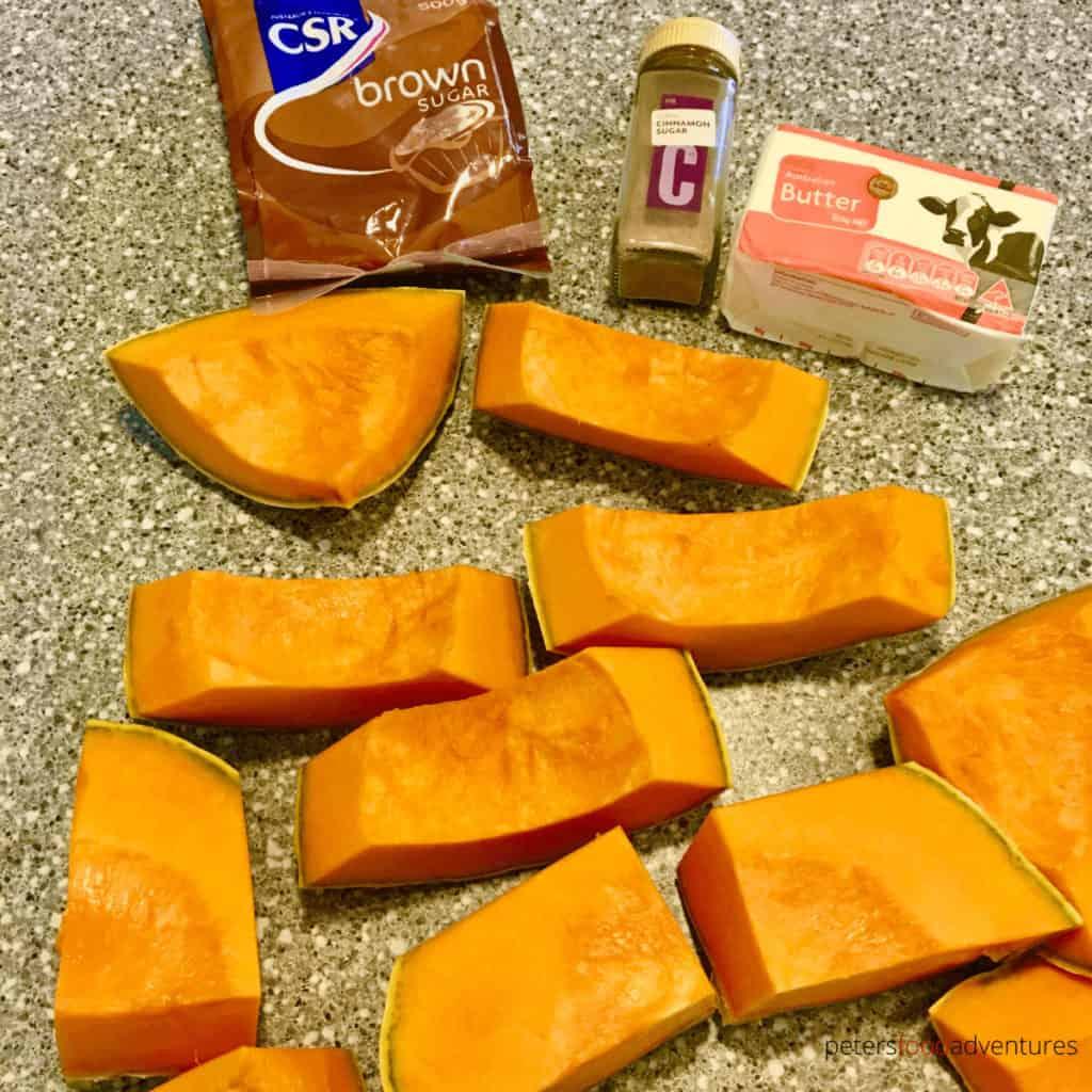 sliced pumpkin chunks