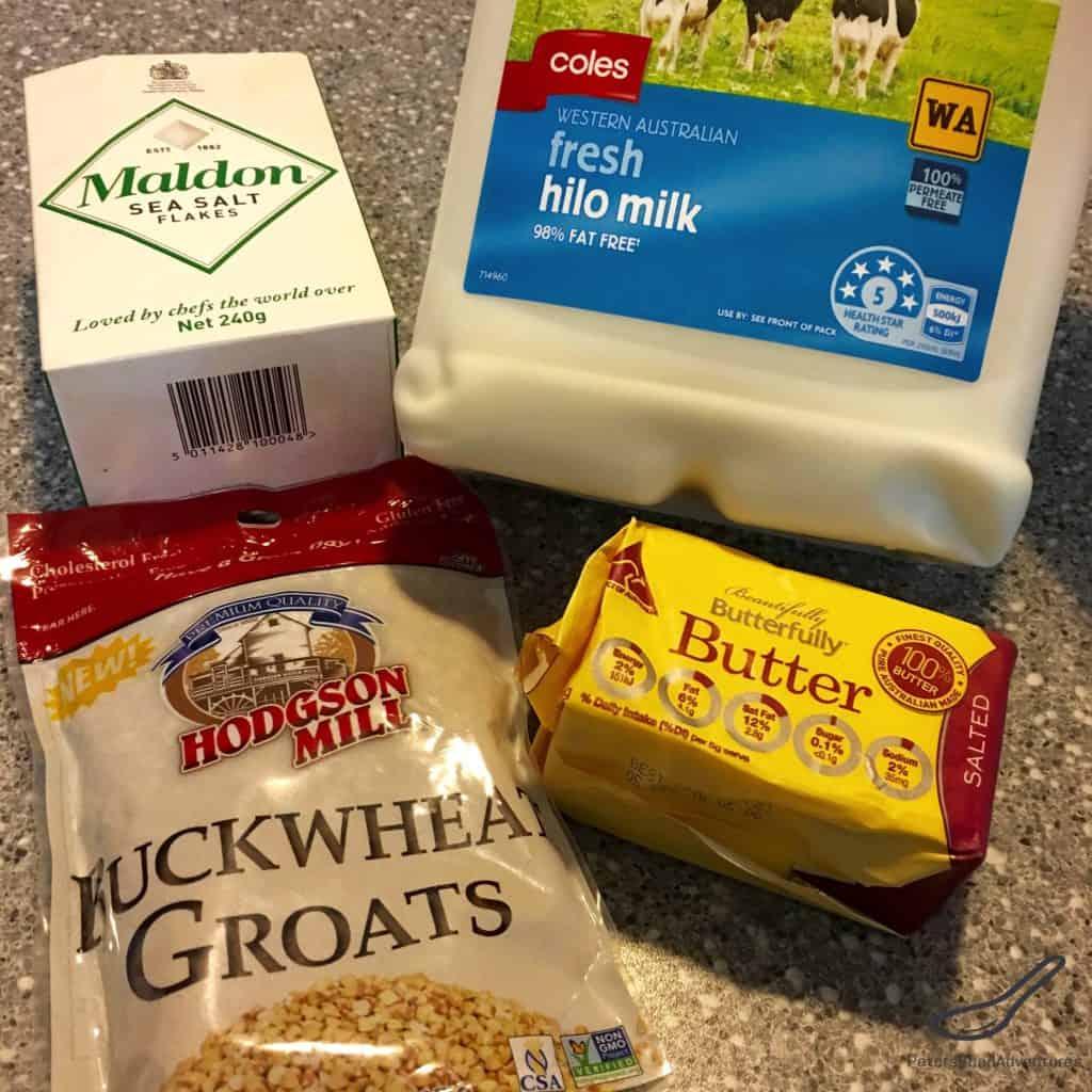 Russian buckwheat porridge ingredients, milk, butter and salt