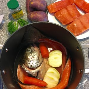 A creamy Salmon and potato soup or creamy ukha soup. Made with a fish head broth. Lohikeitto - Finnish Fish Soup (Финская уха)