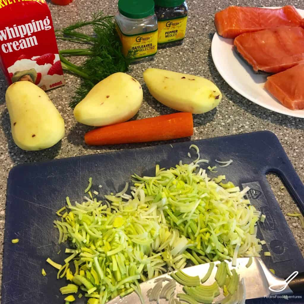 sliced leeks for Lohikeitto Salmon Soup