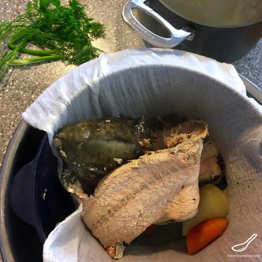 Cooked Fish Head broth straining