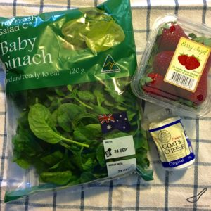 Healthy and nutritious, quick and easy to make, with goat's cheese and a poppyseed dressing and vinaigrette - Strawberry Spinach Salad with Goat Cheese