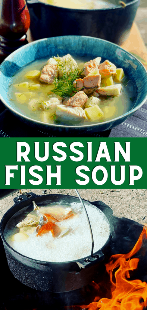 Rustic Russian Fish Head Soup and Fish Broth made with Salmon or Trout, Perch and of course the fish heads with potatoes and dill, enjoyed in Russia for hundred of years - Authentic Ukha Fish Soup (Уха)