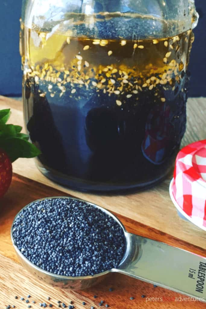 Poppyseed Salad Dressing and Vinaigrette is easy to make, takes just minutes! A dairy free dressing made with Apple Cider Vinegar, Worcestershire, Sesame Seeds and Poppyseeds.