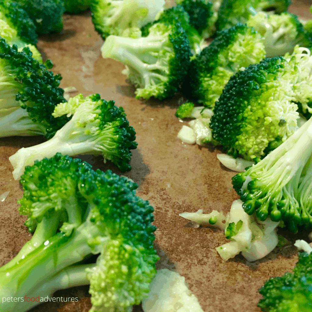 roasting broccoli on a tray