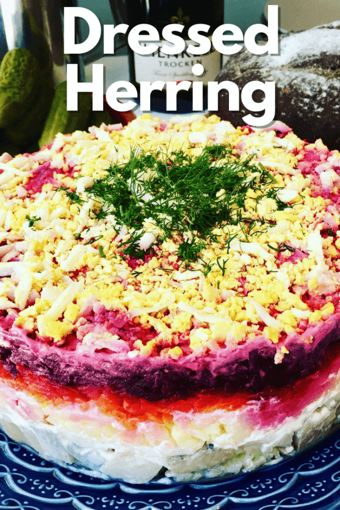 A classic Russian winter recipe, popular especially during New Year celebrations. A layered salad with beets, potatoes, carrots, eggs, herring and lots of mayonnaise! It's like a crazy dressed herring potato salad! - Herring Under a Fur Coat