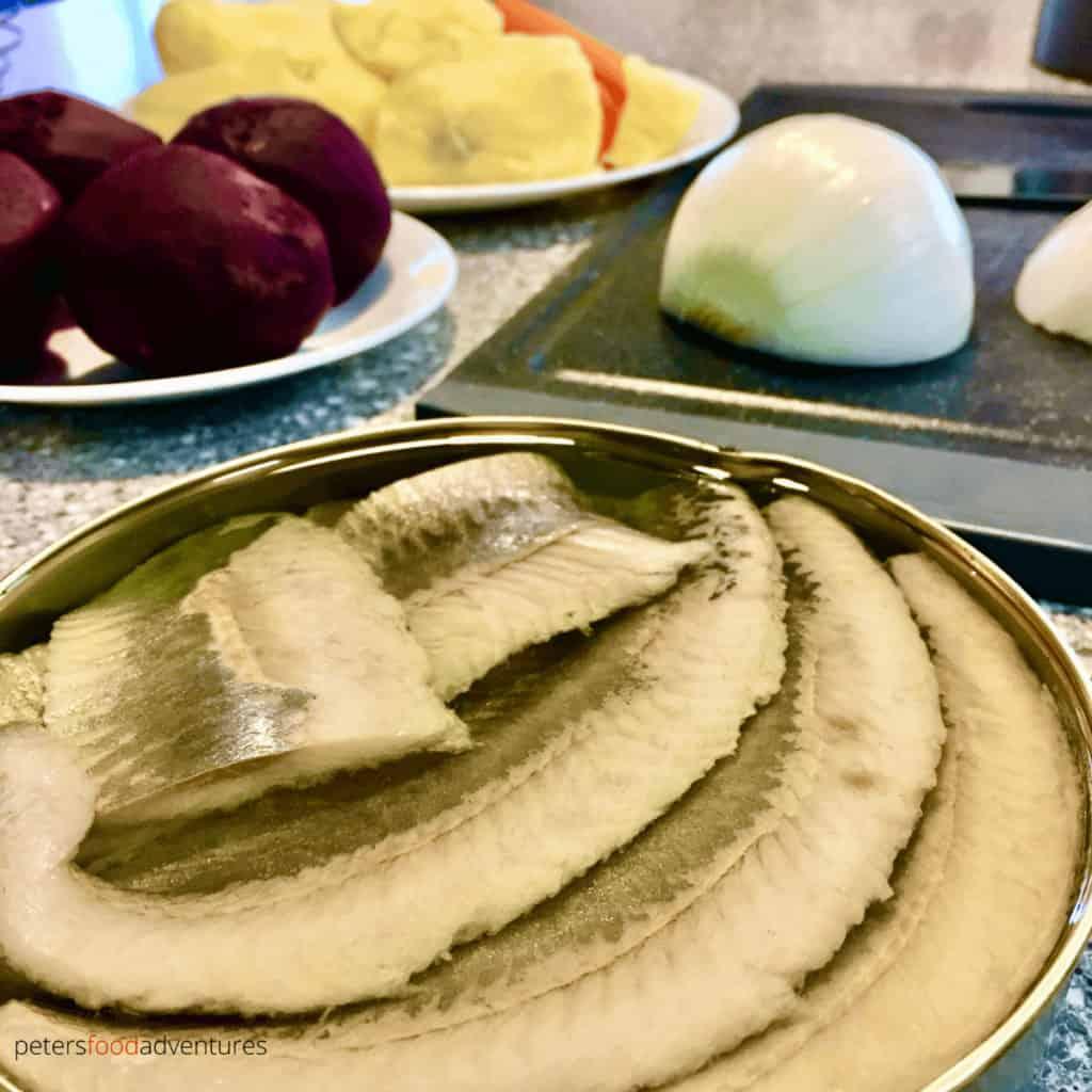 herring in oil for shuba salad or herring under a fur coat salad