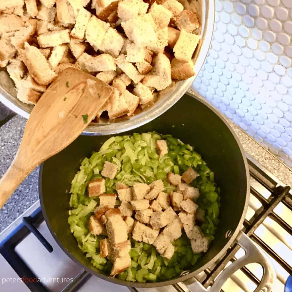making stuffing in a pot