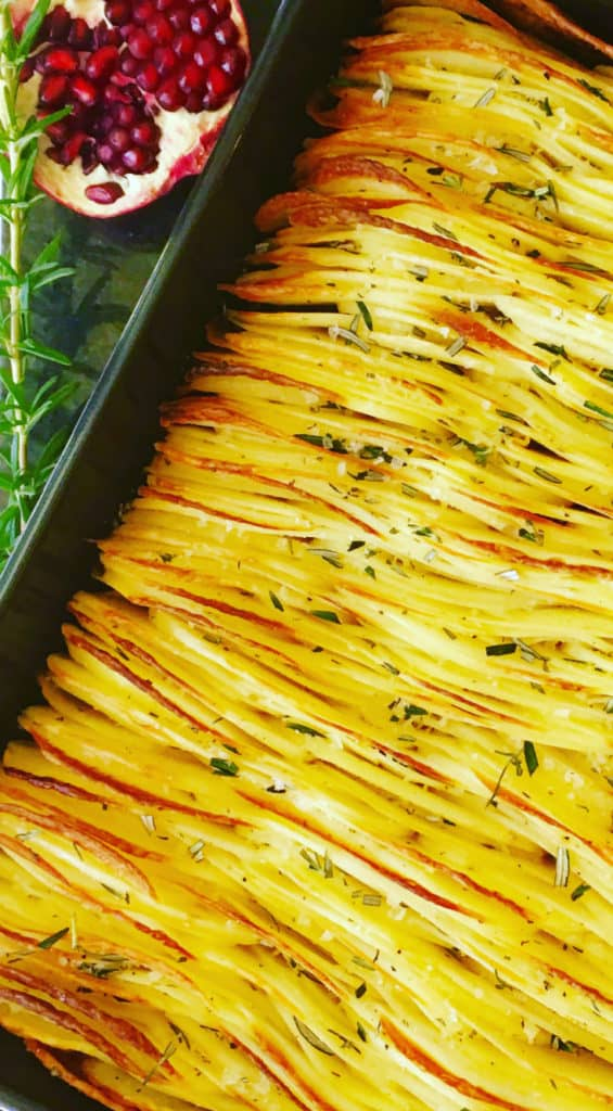 Full of flavour, baked in duck fat and fresh rosemary and salt flakes, a new take on roasted potatoes. Perfect for Christmas or a holiday feast - Crispy Leaf Potatoes Roasted in Duck Fat and Fresh Rosemary