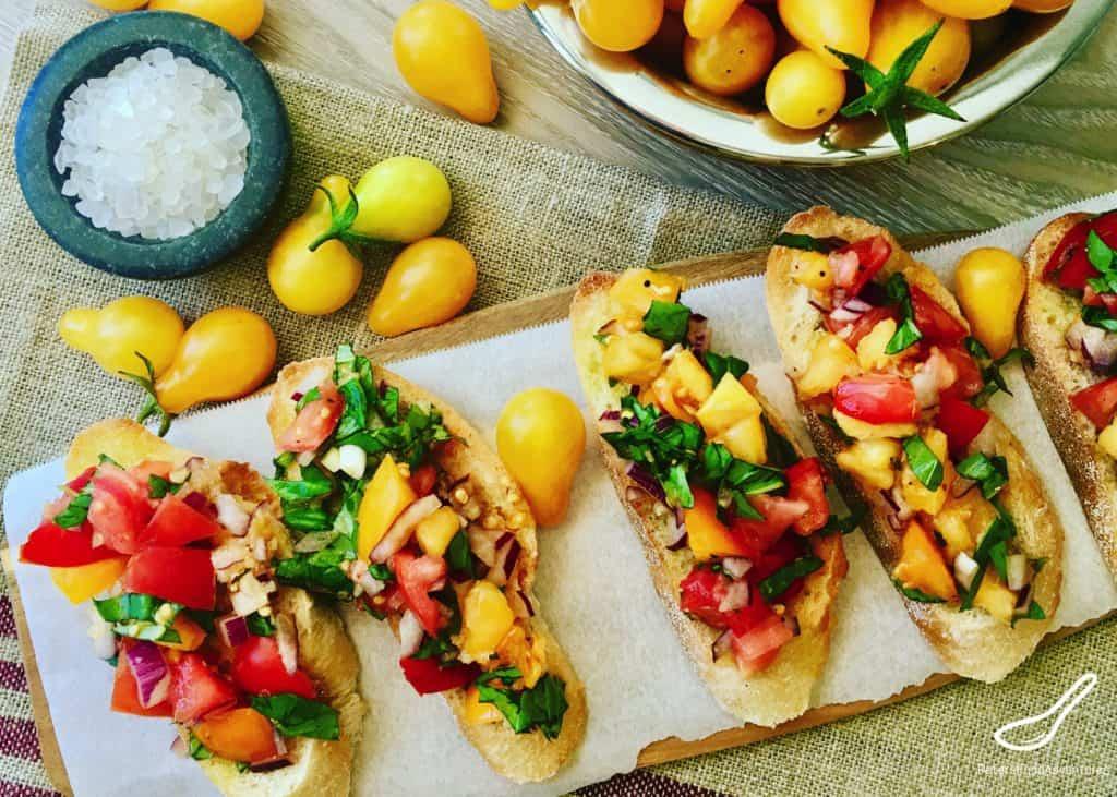 Bruschetta with cherry tomatoes on bread