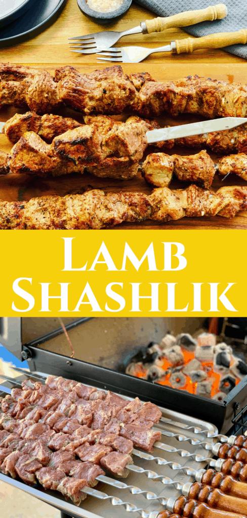 Homemade Lamb or Beef Shish Kebab Skewers Marinated and Cooked Over a Charcoal Grill, like Souvlaki - Russian Shashlik Recipe (Шашлык)