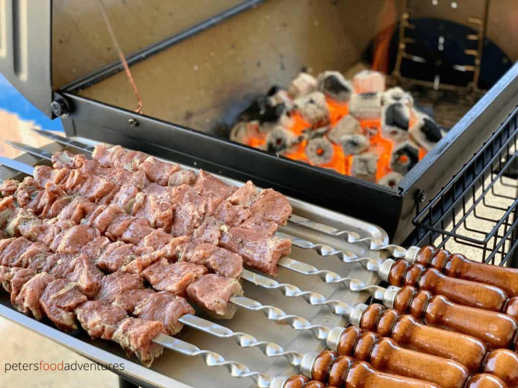 shashlik skewers ready to grill