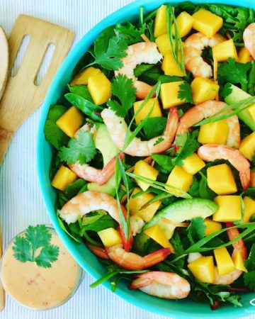 This Prawn and Avocado Mango Salad is delicious, fresh and healthy - made with an easy creamy Sweet Chili n Lime Dressing - Shrimp Mango Salad