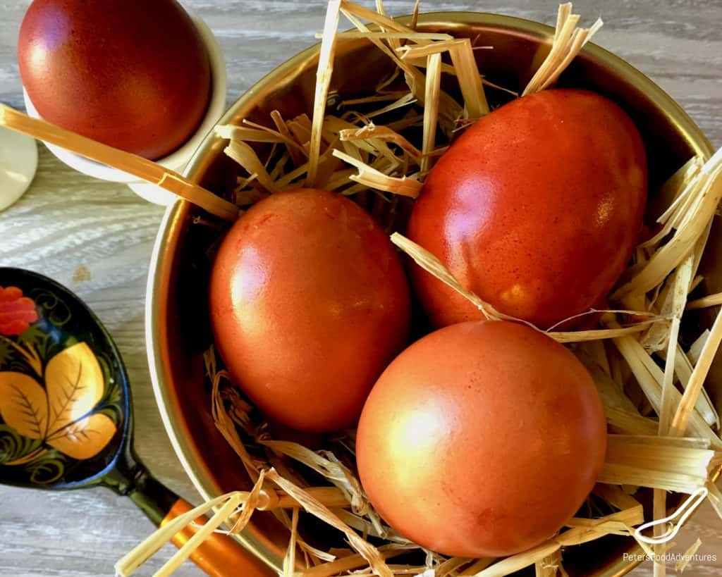 Russian Easter Eggs dyed with onion skins