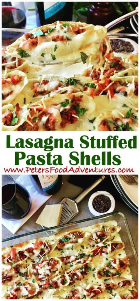 Ever wonder how to cook Italian Seashell Pasta? These Creamy Lasagna Stuffed Shells are delicious and fun to eat. Stuffed with beef bolognese, vegetables, and smothered by a cheesy Béchamel sauce and mozzarella parmesan cheese. (Conchiglioni recipe)
