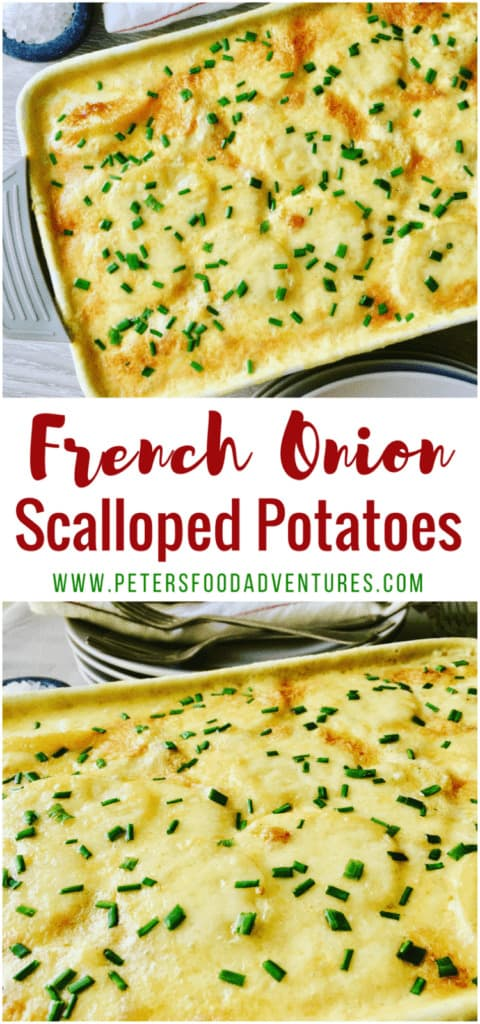 A creamy, cheese scalloped potato casserole that only uses 4 ingredients. So easy to make, yet packed full of flavor - French Onion Scalloped Potatoes Bake