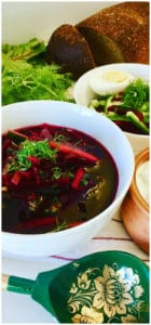 Russian Cold Beet Soup with vegetables and fresh dill