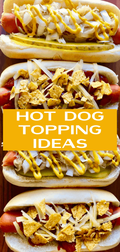 Don't make boring hot dogs! Try these different Hot Dog Toppings to take your easy food to the next level. Not hard, you'll have these ingredients already in your pantry! Perfect for a picnic, cookout or fancy camping.