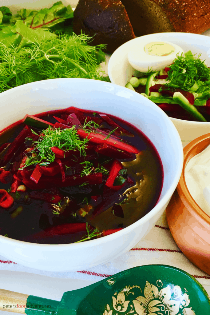 Popular in Russia, Svekolnik (Свекольник) is a vegan cold borscht recipe, much loved and full of vitamins. Like Holodnik, Okroshka, or Gazpacho, cold summer soups are perfect on a hot summer's day. A refreshing lunch or dinner. In Russia, it's all about the beets.
