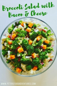 Love this salad! A summer potluck favorite - Jam packed with antioxidant rich Broccoli and healthy Cauliflower, balanced out with the goodness of bacon and cheddar cheese. So easy to make, with an easy homemade dressing - Creamy Broccoli Salad with Bacon