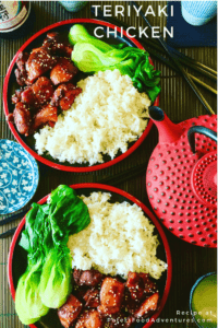 Chicken, rice and vegetables on a Japanese dinner table