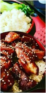 Teriyaki Chicken over rice with sesame seeds