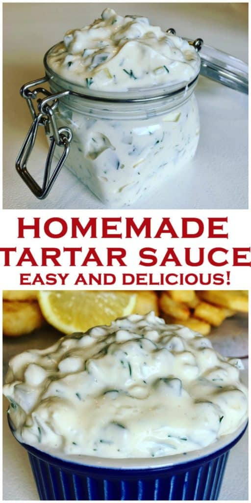 Quick and Easy homemade tartar sauce, better than store bought! Made with dill pickles and mayo, and no added sugar, perfect for fish fingers or fish and chips, a dip you won't be able to stop eating! Homemade Tartar Sauce Recipe