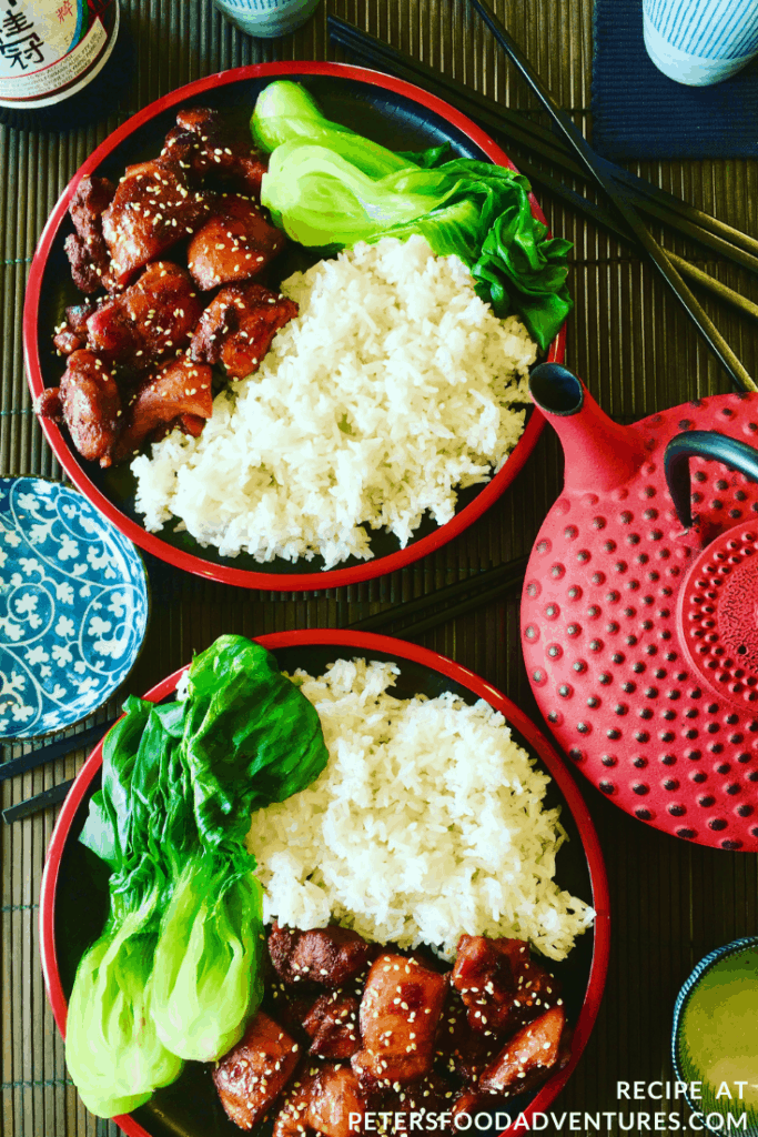 Chicken Teriyaki in a rice bowl with asian greens