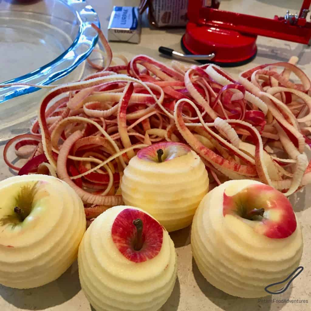 Peeling apples for apple pie