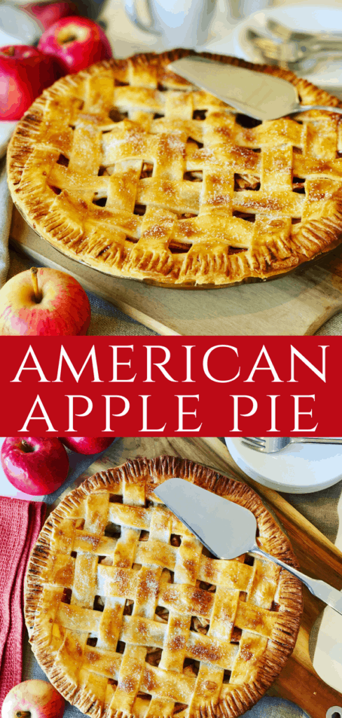 This Classic Apple Pie recipe is a family favorite! As American as Apple Pie, made with fresh apples, brown sugar, cinnamon with a shortcrust lattice pastry. This will be the only apple pie recipe you'll need!