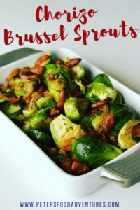 These Roasted Brussel Sprouts with Chorizo are so easy to make and full of flavor. A perfect side dish for your Christmas, Thanksgiving or holiday celebration table - Brussel Sprouts with Chorizo and Balsamic Glaze