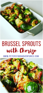 These Chorizo Brussel Sprouts are so easy to make and full of flavor. A perfect side dish for your Christmas, Thanksgiving or holiday celebration table - Brussel Sprouts with Chorizo and Balsamic Glaze