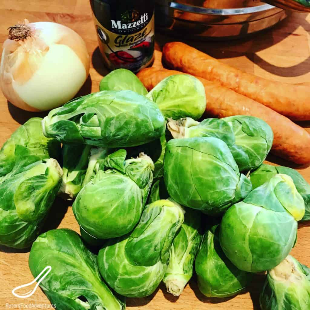 brussel sprouts in a cutting board