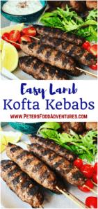 A delicious grilled Greek Mediterranean classic with ground lamb, cumin ,coriander, sumac served with pita bread and Tzatziki sauce -Easy Lamb Kofta Recipe
