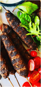 Lamb Kofta are so easy to make. A delicious grilled Greek Mediterranean classic with ground lamb, cumin ,coriander, sumac served with pita bread and Tzatziki sauce.