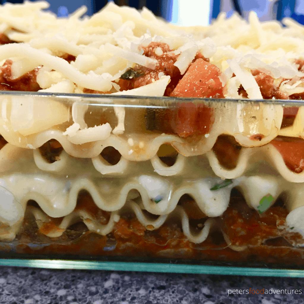 lasagna layers in a glass pan