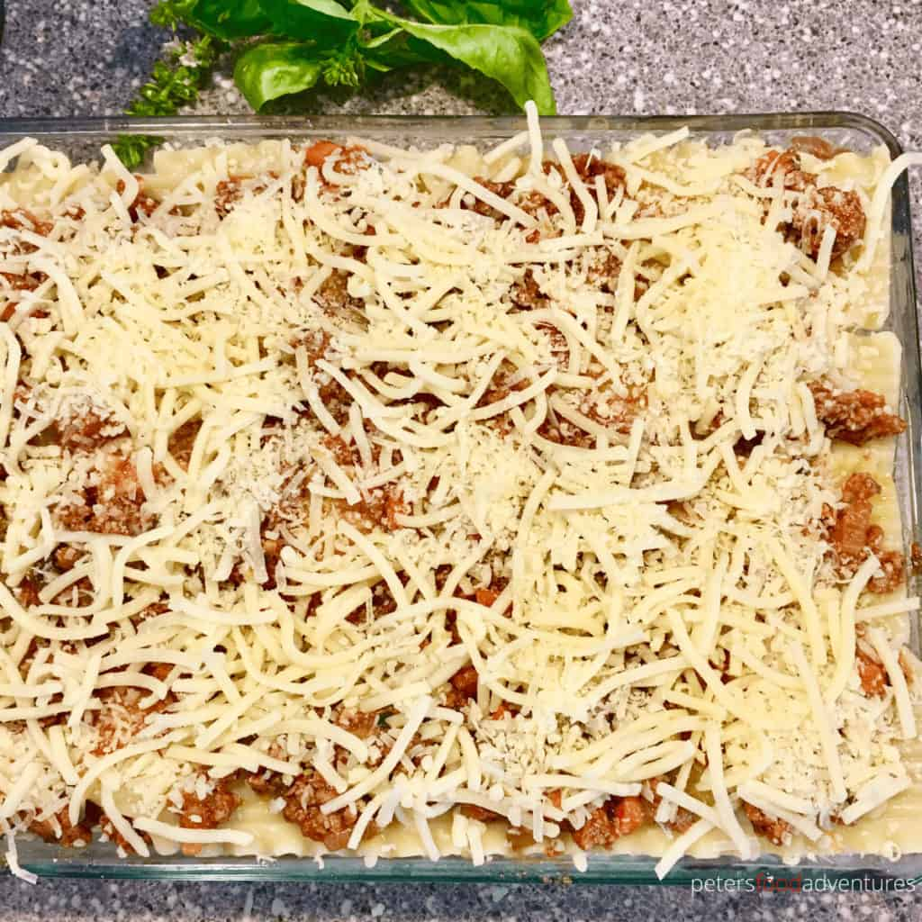 lasagna pan with cheese, top down photo