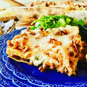 Lasagna with Cottage Cheese is a classic Lasagne dinner favorite, with loads of mozzarella cheese, meat Ragu, cottage cheese and parmesan. Spinach Free and delicious!
