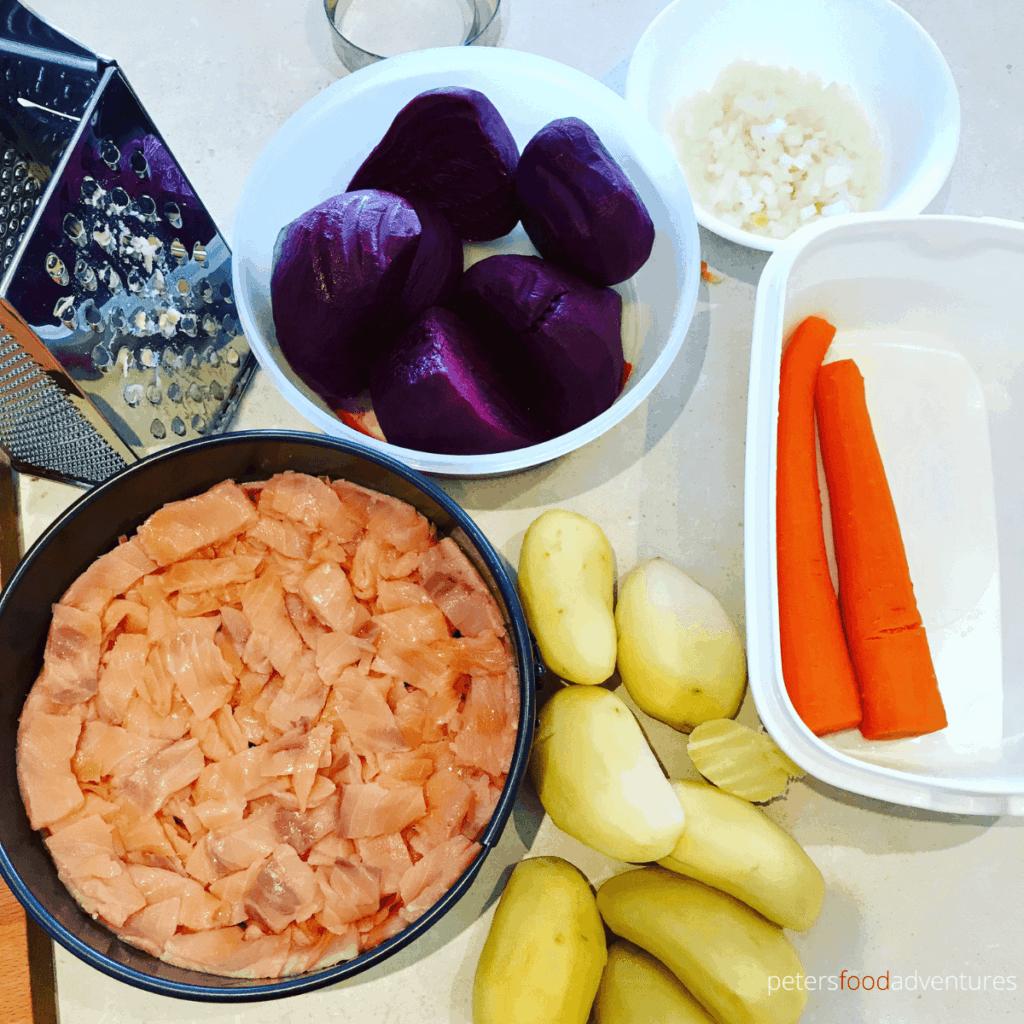 making shuba salad with smoked salmon and potato