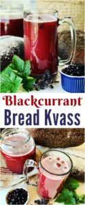 A refreshing summertime fruit kvass made from Rye Bread and Blackcurrants, fermented and non-alcoholic. Like a homemade beer, but sweeter and healthier. Delicious Rye Bread Kvass with Blackcurrants.