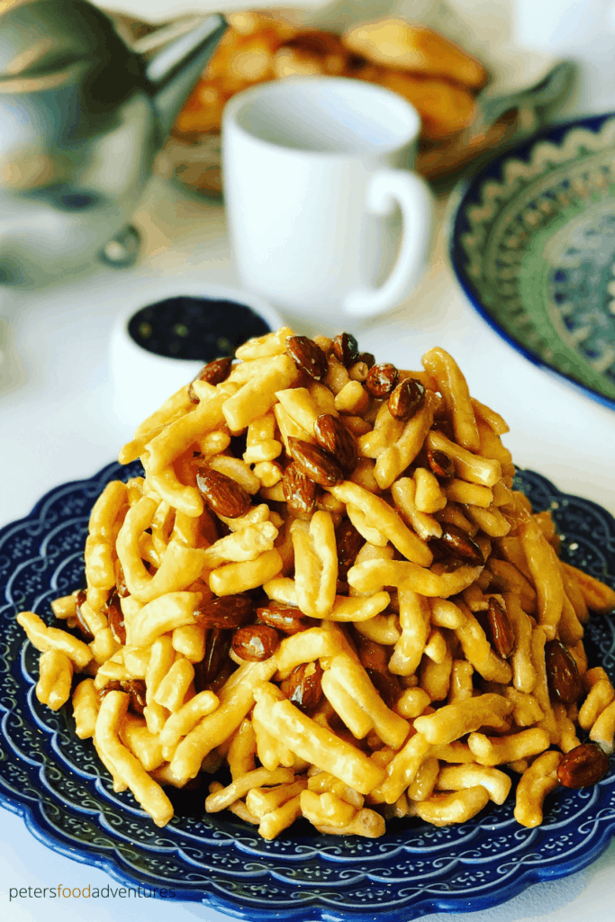 A delicious Chak Chak recipe from Tatarstan. A Fried Honey Cake popular in Russia, Uzbekistan, Kazakstan and across Central Asia and the former Soviet Union. Chak Chak (Чак-чак) or Çäkçäk is served for guests, at weddings and celebrations.