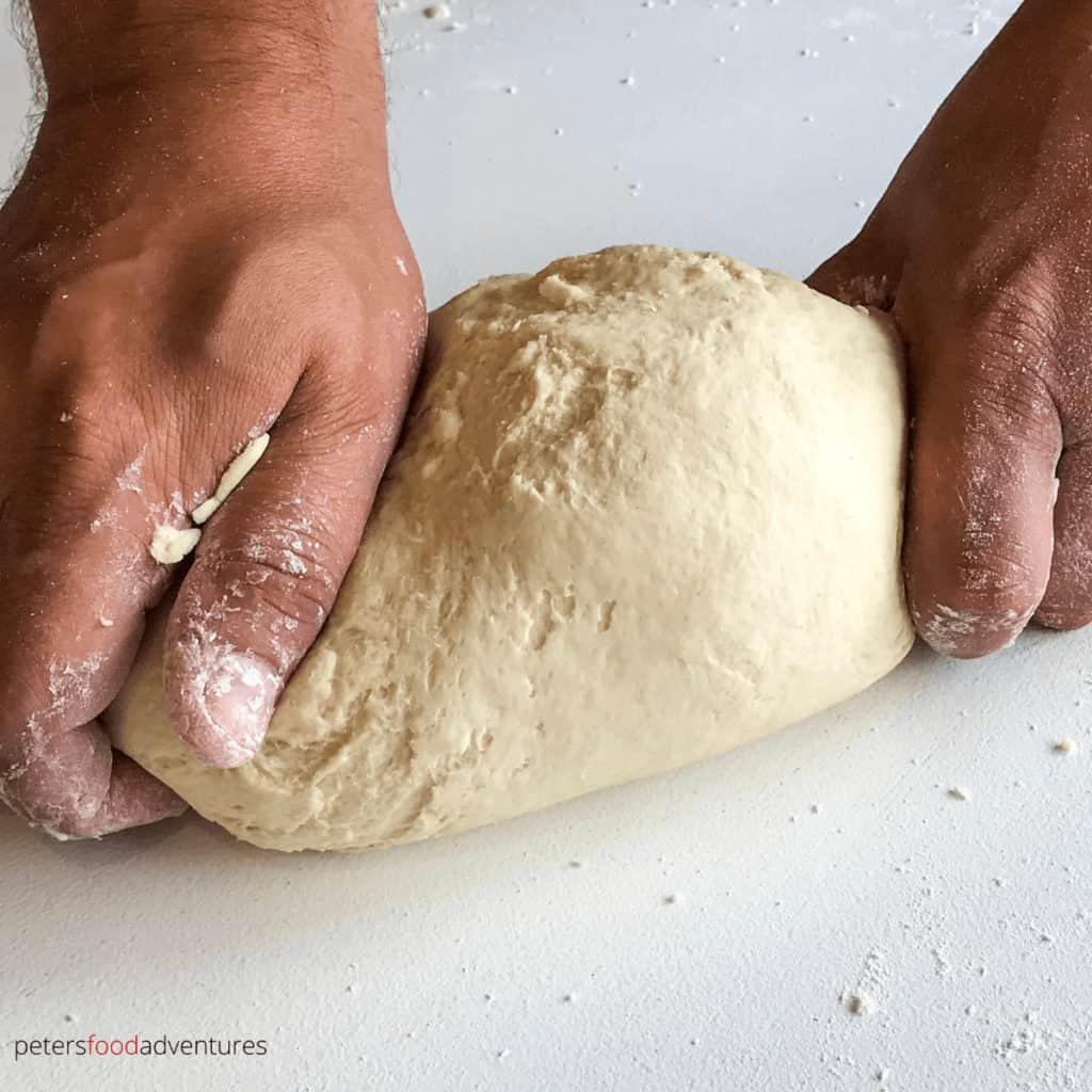kneading pierogi dough