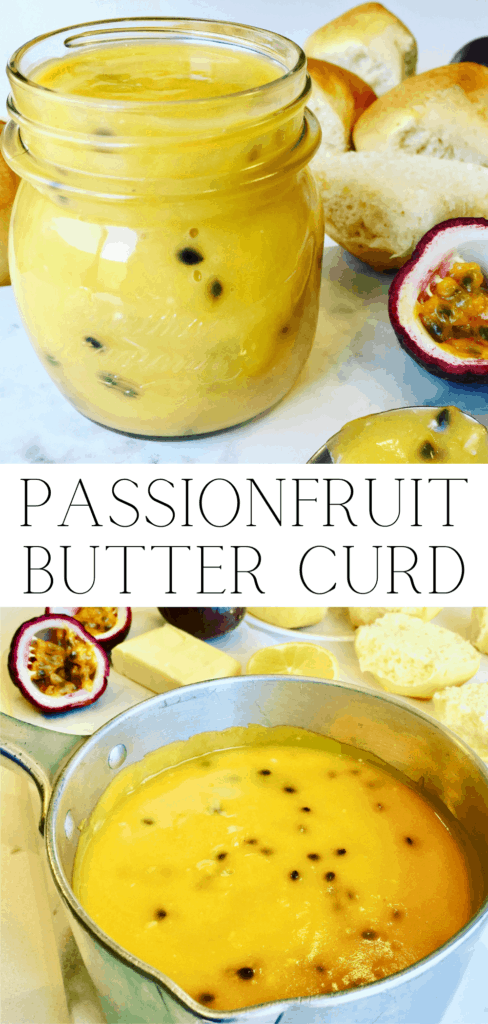 Passionfruit Butter or Passionfruit Curd Pinterest Pin, served in a glass jar and metal pot