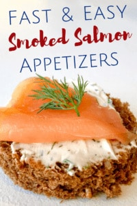 An easy to make appetizer, ready in minutes! Smoked Salmon, dill cream cheese on rye bread rounds (or pumpernickel). This simple 4 ingredients recipe is the perfect salmon canape for the holidays. Smoked Salmon Appetizer