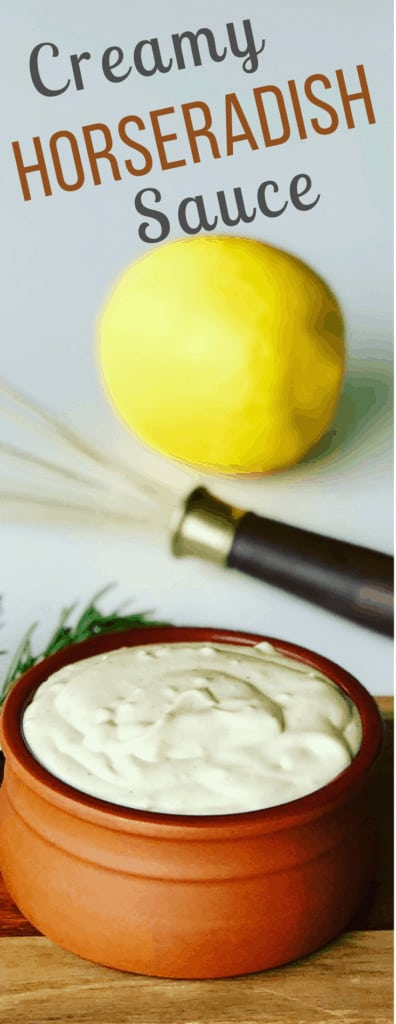 This easy to make Creamy Horseradish Sauce is the perfect accompaniment to Prime Rib Roast, steaks or even a roast beef sandwich. You're gonna love this creamy and zesty condiment.