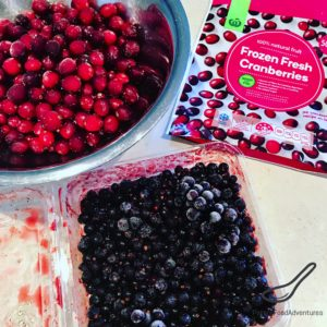 frozen cranberries and black currants in a bowl