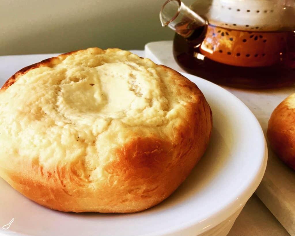 Vatrushka Buns with a pot of tea