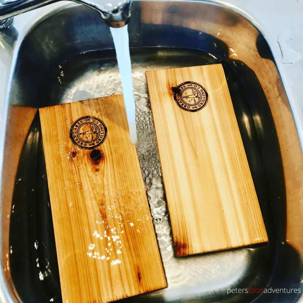 soaking cedar planks in the sink