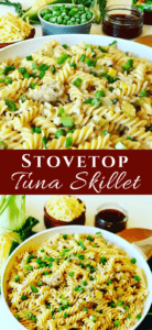 A creamy and easy to make Stovetop Skillet Tuna Casserole recipe. Using mushroom soup as the base with peas, corn, cheese and an easy shortcut to make au gratin topping. I love eating this with Sweet Thai Chili Sauce! Creamy Tuna Pasta Recipe
